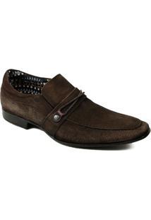 Sapato Social Rafarillo Magnum Com Textura E Tira Tressê - Masculino-Marrom