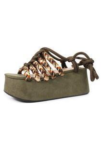 Sandália De Corda Trançada Damannu Shoes Verde Militar
