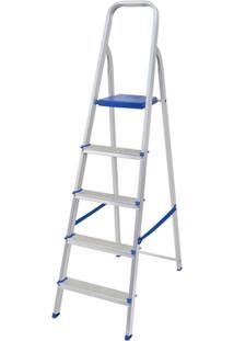 Escada Alumínio 5 Degraus - Unissex-Prata