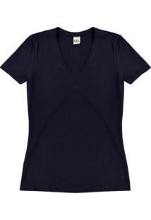 Blusa Feminina Básica Em Malha De Algodão Com Elastano Folha