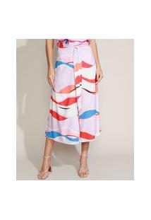 Calça Feminina Pantacourt Cintura Super Alta Transpassada Estampada Abstrata Com Amarração Lilás