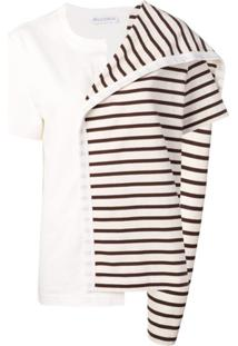 Jw Anderson Contrast Panel Striped Top - Marrom