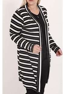 Cardigan Listrado Plus Size Feminino Preto/Branco