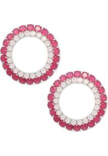 Brinco Círculo Cravejado Com Zircônias - Feminino-Pink+Rosa
