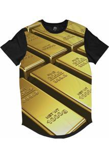 Camiseta Bsc Longline Barra De Ouro Sublimada Preta Dourada
