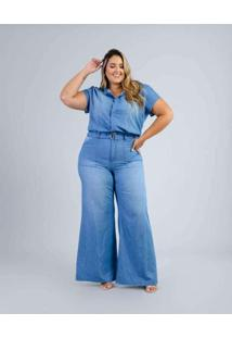 Macacão Pantalona Almaria Plus Size Blubetty Azul