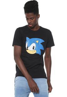 Camiseta Tectoy Camiseta Sonic Hedgehog Classic Front Face Preta