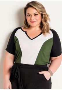 Blusa Plus Size Preta Com Combinação De Cores
