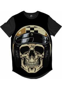 Camiseta Longline Bsc Caveira Capacete Motoqueiro 68 Sublimada Masculina - Masculino-Preto