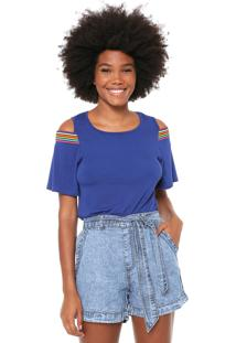 Blusa Fiveblu Off Shoulders Azul