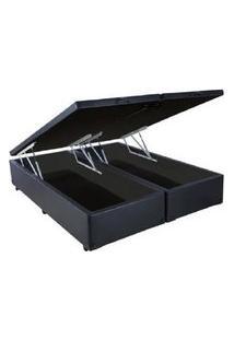 Cama Box Casal Com Bau Pistáo A Gás Preto Suede Bipartido - 138X188