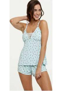 Pijama Feminina Liganete Estampado Alças Finas Marisa