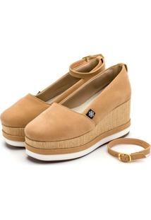 Tênis Anabela Mr Shoes Aberta Salto Médio Confortavel 170407 - Nude