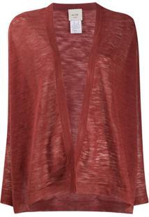 Alysi Semi-Sheer Open Front Cardigan - Vermelho