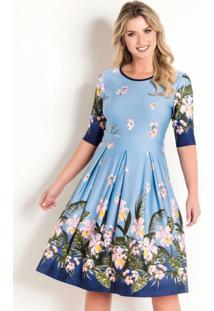Vestido Evasê Moda Evangélica Floral Barrado