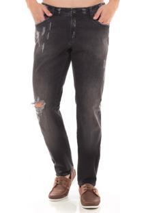 Calça Jeans Skinny Denúncia Masculina - Masculino-Chumbo