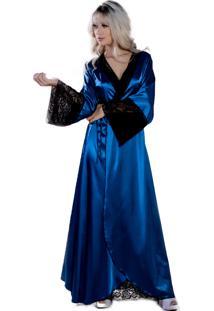 Robe Longo Yasmin Lingerie Perola Azul Petróleo/Preto