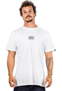 Camiseta Alfa Basic Square - Masculino-Branco