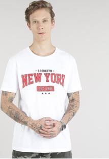 """Camiseta Masculina """"New York"""" Manga Curta Gola Careca Off White"""