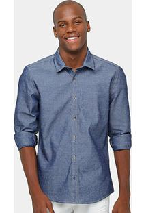 Camisa Calvin Klein Indigo Estampada Masculina - Masculino-Jeans