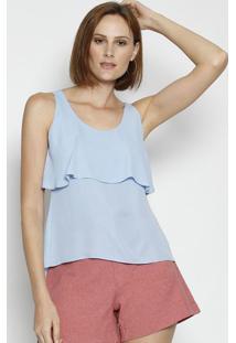 Blusa Com Recorte Sobreposto - Azul Claro - Moisellemoisele