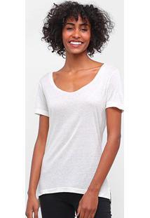 Camiseta Carmim Gola Canoa Cobra Hotfix Feminina - Feminino-Off White