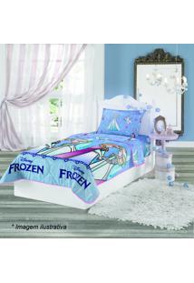 Edredom Dupla Face Frozenâ® Solteiro- Azul & Azul Claro