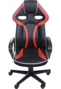 Cadeira Office Gamer- Preta & Vermelha- 135X60X51Cm