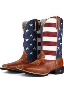 Bota Country Sapatofran Texana Rebento Bico Quadrado Eua Branco/Azul