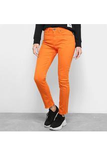 Calça Slim Calvin Klein Color Five Pockets High Rise Feminina - Feminino-Laranja