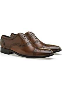Sapato Social Oxford Brogan Oviedo Masculino - Masculino-Marrom