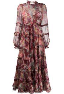 Zimmermann Vestido Longo Com Amarração E Estampa Floral - Vermelho