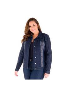 Jaqueta Plus Size Jeans Com Tweed