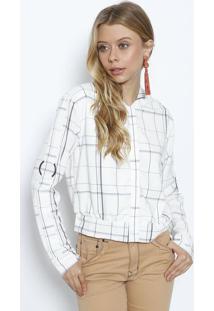 Jaqueta Geométrica Com Botões - Off White & Cinza Escurolez A Lez