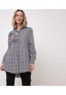 Camisa Xadrez Vichy Em Flanela Com Bordado