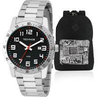Kit Relógio Masculino Technos Com Mochila The Black 0cf9f9af91