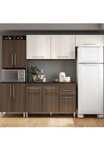 Cozinha Compacta Elisa - Com Tampo - Poliman - Amendoa / Arena