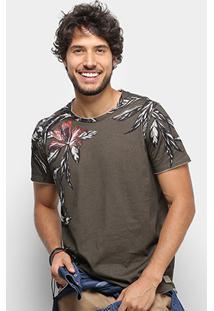Camiseta Colcci Estonada Floral Masculina - Masculino