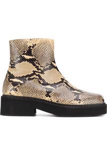 Marni Ankle Boot Com Efeito Pele De Cobra - Neutro