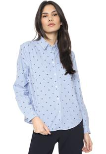 Camisa Banana Republic Ls Quinn Love Conversational Azul/Branco