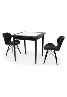Conjunto Mesa De Jantar Em Madeira Preto Prime Com Azulejo + 2 Cadeiras Slim - Preto