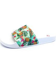 Chinelo Slide Quality Shoes Feminino Abacaxi Verde Sola Branca 35