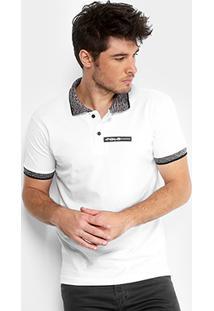 Camisa Polo Rg 518 Piquet Logo Emborrachado Jacquard Masculina - Masculino-Branco