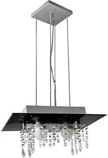 Lustre Pendente De Vidro Com Cristal Para 02 Lâmpadas - Pode Ser Utilizado Lâmpadas De Led - Preto