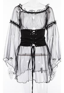 Vestido De Tule C/Cinto-Corset