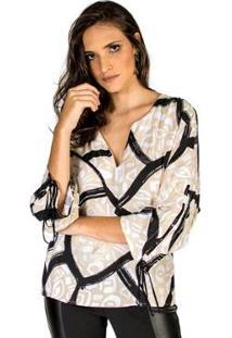 Camisa Reta Estampada Handbook Feminina - Feminino-Preto