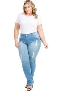 Calça Confidencial Extra Plus Size Cigarrete Jeans Porsche Feminina - Feminino-Azul Claro