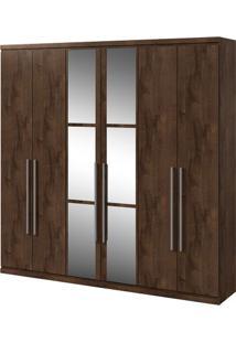 Guarda-Roupa Alonzo Com Espelho - 6 Portas - Imbuia Soft Guarda-Roupa Alonzo - 6 Portas - Imbuia Soft - Com Espelho