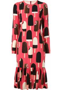 Dolce & Gabbana Vestido Midi De Seda Estampado