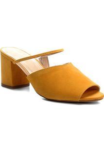 Tamanco Couro Shoestock Salto Bloco Vinil Feminino - Feminino-Amarelo